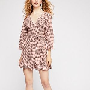 Free People gingham check mini dress size 6